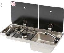 CAN kookplaat RVS 2 pits met spoelbak 716x340x150mm