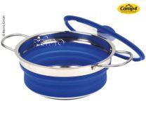 Invouwbare pan met glazen deksel blauw (niet meer leverbaar)