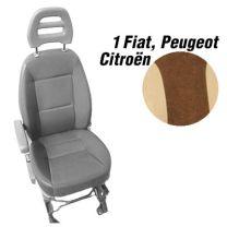 Badstof stoelhoezen set model 1 voor standaard Fiat Ducato stoelen Mokka Beige