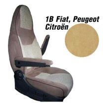 Badstof stoelhoezen 1B set voor pilotenstoel camper Fiat, Peugeot, Citroen 2006 - 2014 Beige