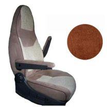 Badstof stoelhoezen 1B set voor pilotenstoel camper Fiat, Peugeot, Citroen 2006 - 2014 espresso