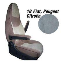 Badstof stoelhoezen 1B set voor pilotenstoel camper Fiat, Peugeot, Citroen 2006 - 2014 Grijs