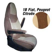 Badstof stoelhoezen 1B set voor pilotenstoel camper Fiat, Peugeot, Citroen 2006 - 2014 mokka beige