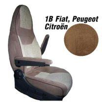 Badstof stoelhoezen 1B set voor pilotenstoel camper Fiat, Peugeot, Citroen 2006 - 2014 mokka