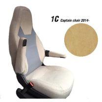 Badstof Stoelhoezen set voor Pilotenstoel camper Fiat, Peugeot, Citroen 2014 tot heden Beige