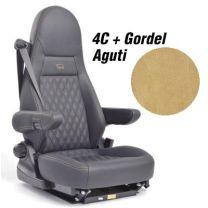 Badstof stoelhoezen set Aguti 4C stoelen met gordel beige