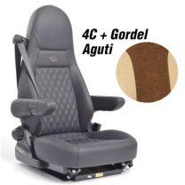Badstof stoelhoezen set Aguti 4C stoelen met gordel mokka beige