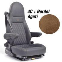 Badstof stoelhoezen set Aguti 4C stoelen met gordel mokka