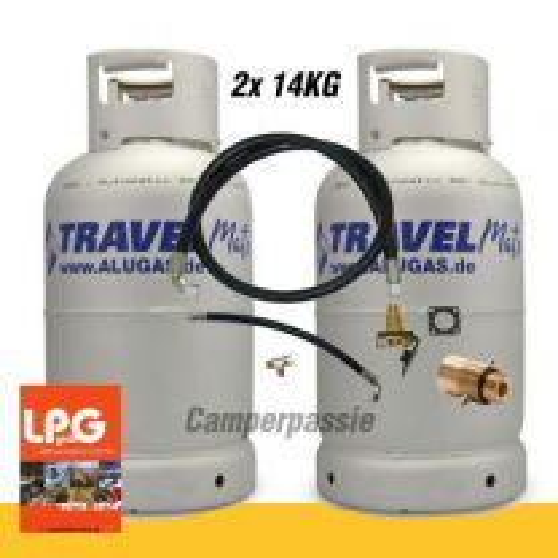 Camperset 4 2x LPG tankfles met livello meter 14 KG + Vulnippel + Buiten vul set